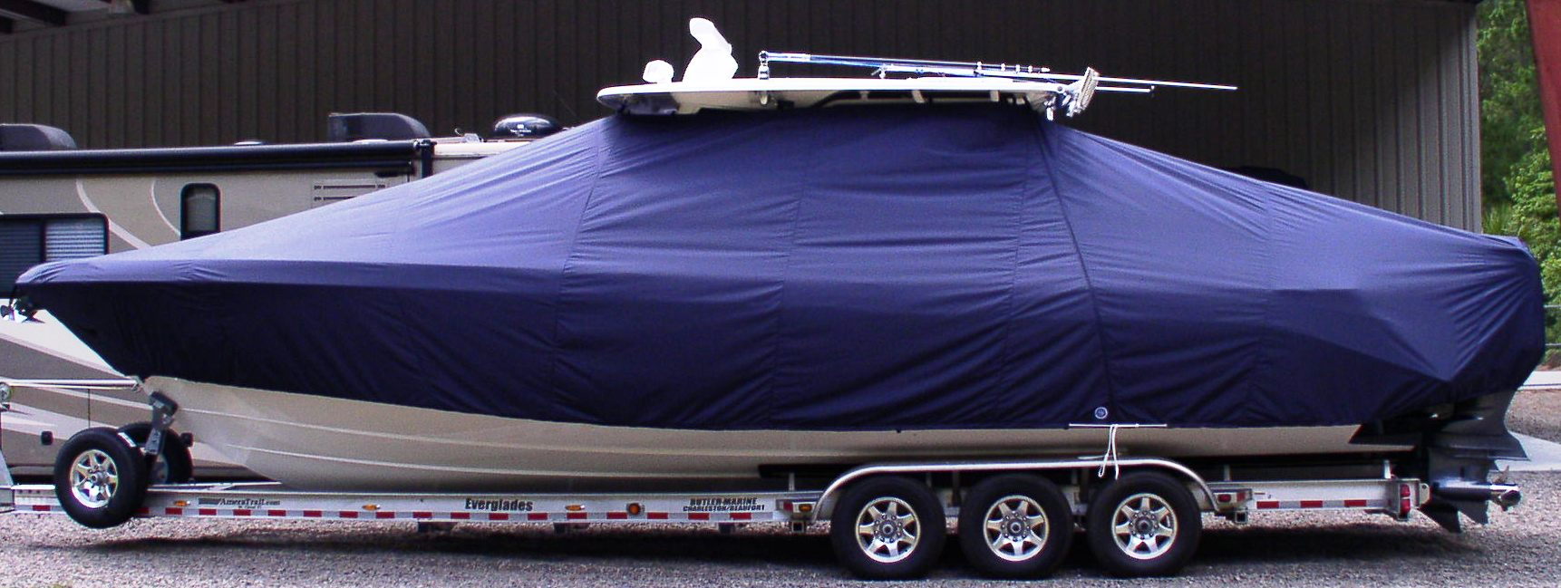 Everglades 355CC, 20xx, TTopCovers™ T-Top boat cover, port side