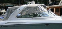 Photo of Formula 370 SS Aluminum WindShield, 2005: Bimini-Top Connector, Side-Curtains, Camper Top, Camper, Side and Aft-Curtains, viewed from Starboard, Side
