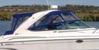 Photo of Formula 370 SS Aluminum WindShield, 2006: Bimini-Top Connector, Side-Curtains, Camper Top, Camper, Side and Aft-Curtains, viewed from Starboard, Side