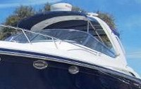 Photo of Formula 370 SS Aluminum WindShield, 2007: Bimini-Top, Camper Top, Arch Connections, viewed from Port, Front