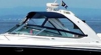 Photo of Formula 370 SS Aluminum WindShield, 2007: Bimini-Top Connector, Side-Curtains, viewed from Port, Front