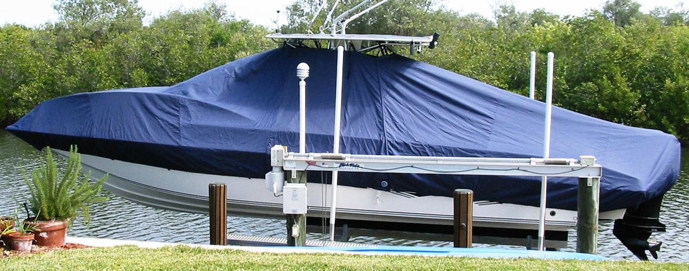 Fountain 31CC, 20xx, TTopCovers™ T-Top boat cover, port side