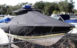 Fountain 32CC, 20xx, TTopCovers™ T-Top boat cover, starboard front