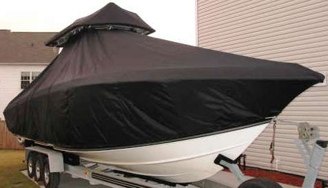 Fountain 34CC, 19xx, TTopCovers™ T-Top boat cover T Top Storage Bonnet, starboard front