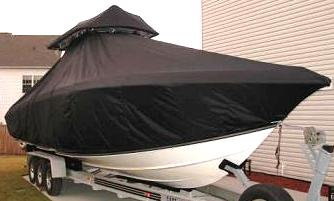 Fountain 34CC, 20xx, TTopCovers™ T-Top boat cover T Top Storage Bonnet, starboard front