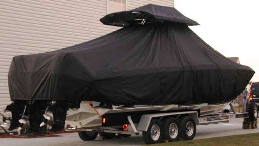 Fountain 34CC, 20xx, TTopCovers™ T-Top boat cover T Top Storage Bonnet, starboard rear