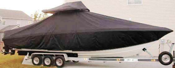 Fountain 34CC, 20xx, TTopCovers™ T-Top boat cover T Top Storage Bonnet, starboard side