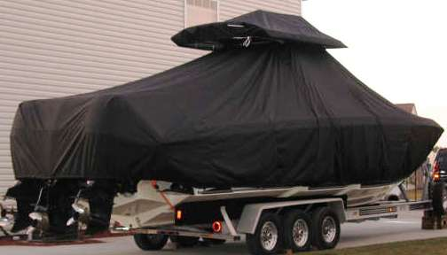 Fountain 34cc, 19xx, TTopCovers™ T-Top boat cover T Top Storage Bonnet, starboard rear