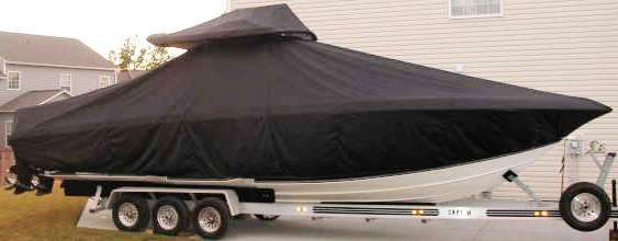Fountain 34cc, 19xx, TTopCovers™ T-Top boat cover T Top Storage Bonnet, starboard side