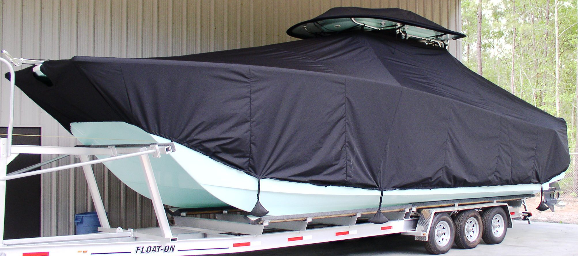 Freeman 33, 20xx, TTopCovers™ T-Top boat cover T Top Storage Bonnet, port front