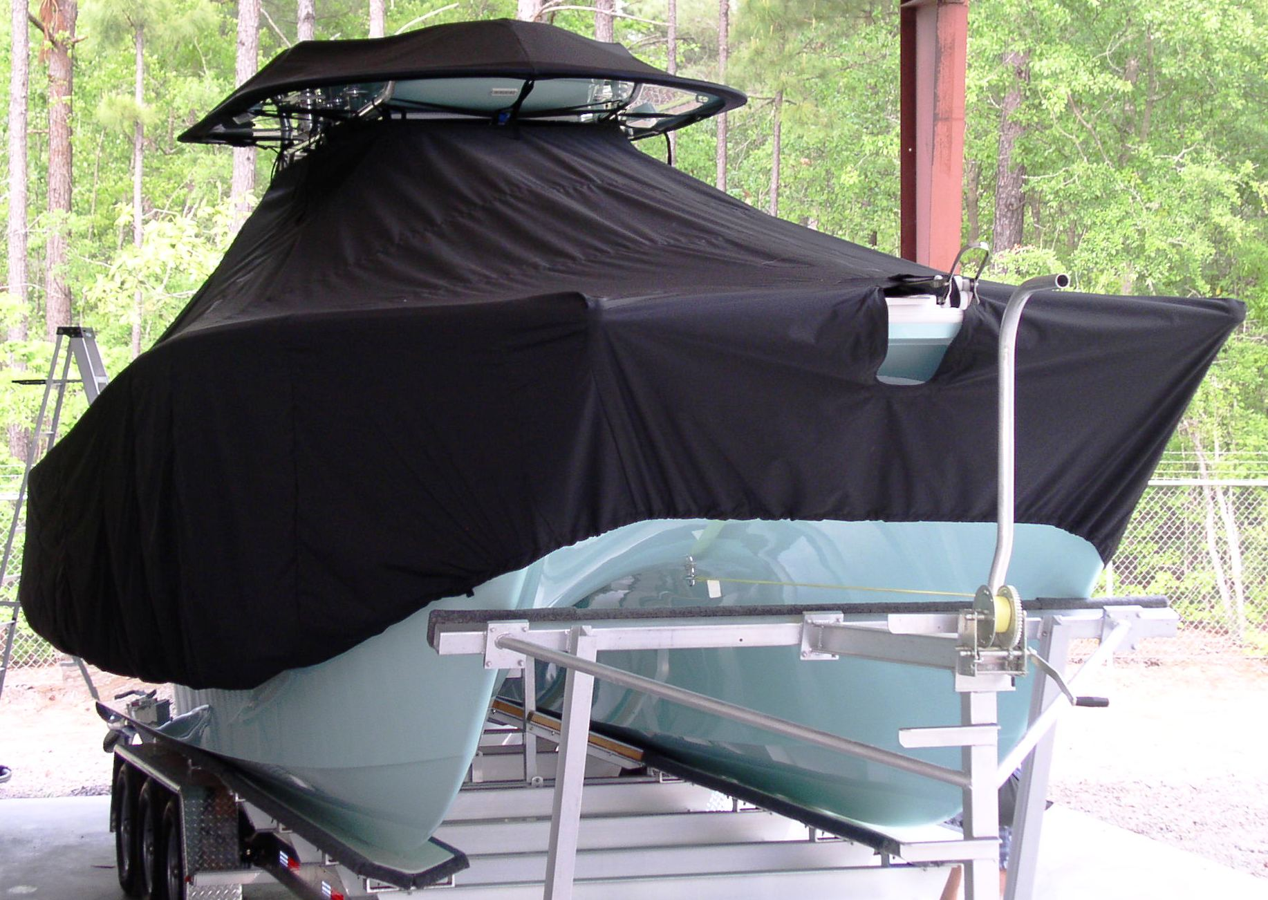 Freeman 33, 20xx, TTopCovers™ T-Top boat cover T Top Storage Bonnet, starboard front
