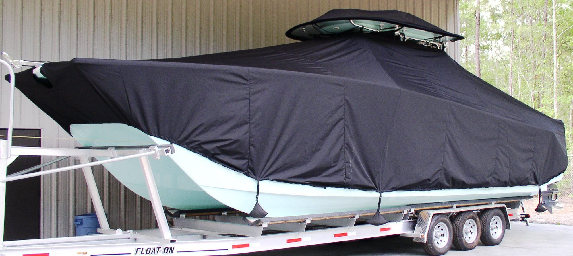Freeman 34, 20xx, TTopCovers™ T-Top boat cover T Top Storage Bonnet, port front