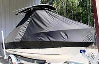 Glassmaster® 196CC T-Top-Boat-Cover-Elite-899™ TTopCover(tm) T-Top or Hard-Top Boat-Cover (Elite 9oz./sq.yd. fabric) attaches beneath T-Top or Hard-Top frame to cover entire boat, bow, helm, cockpit and motor(s). Custom patterned for tight fit