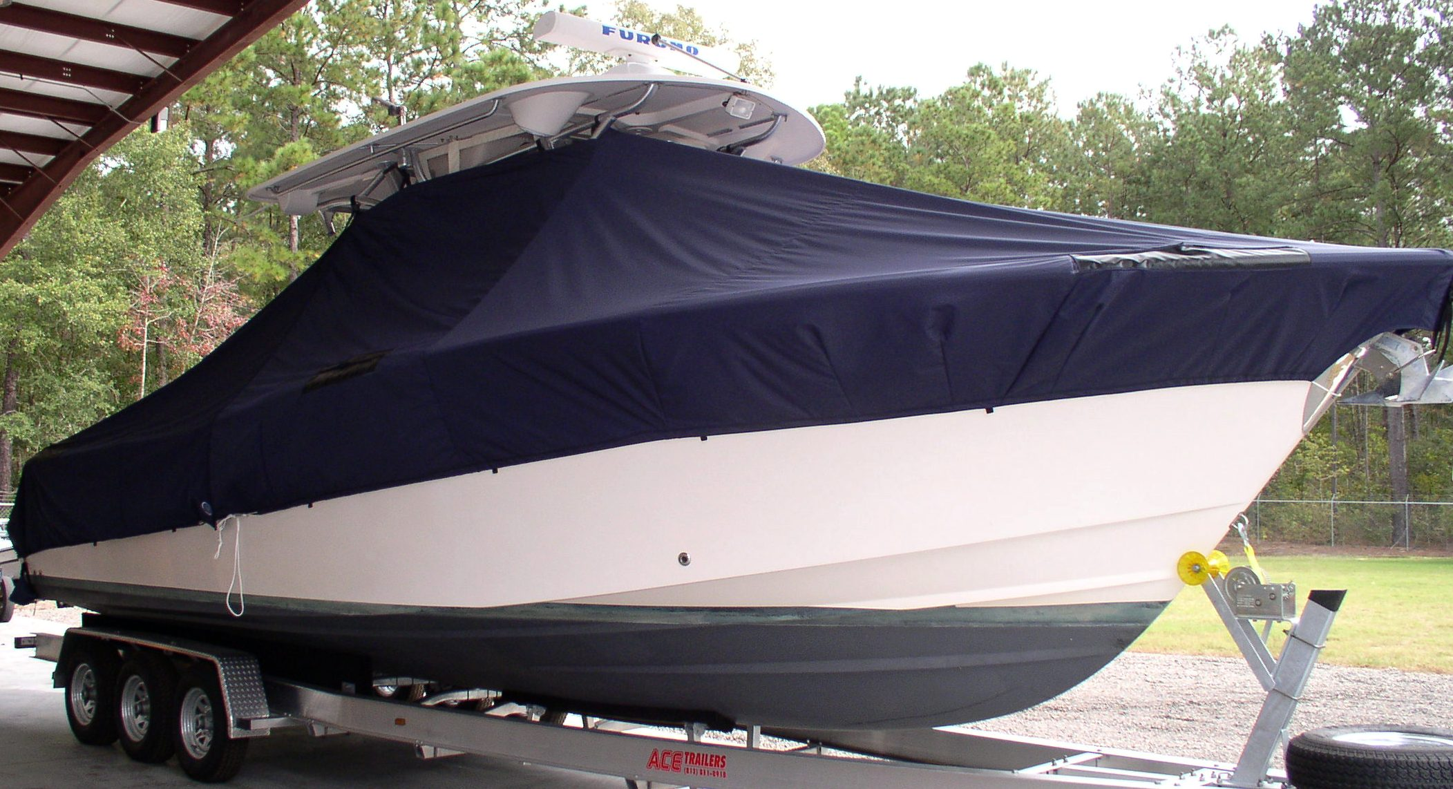 Grady White Bimini 306, 20xx, TTopCovers™ T-Top boat cover, starboard front
