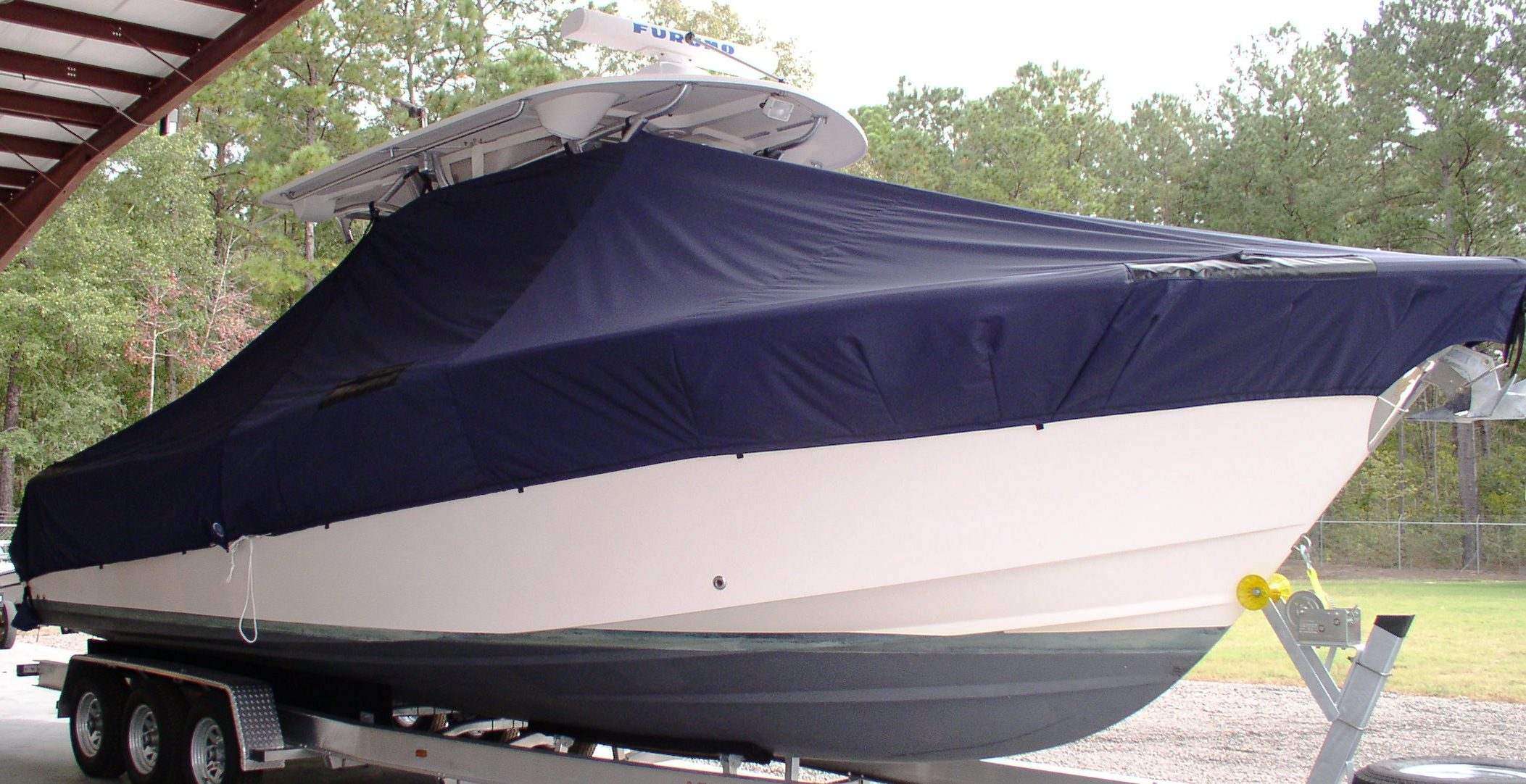 Grady White Canyon 306, 20xx, TTopCovers™ T-Top boat cover, starboard front