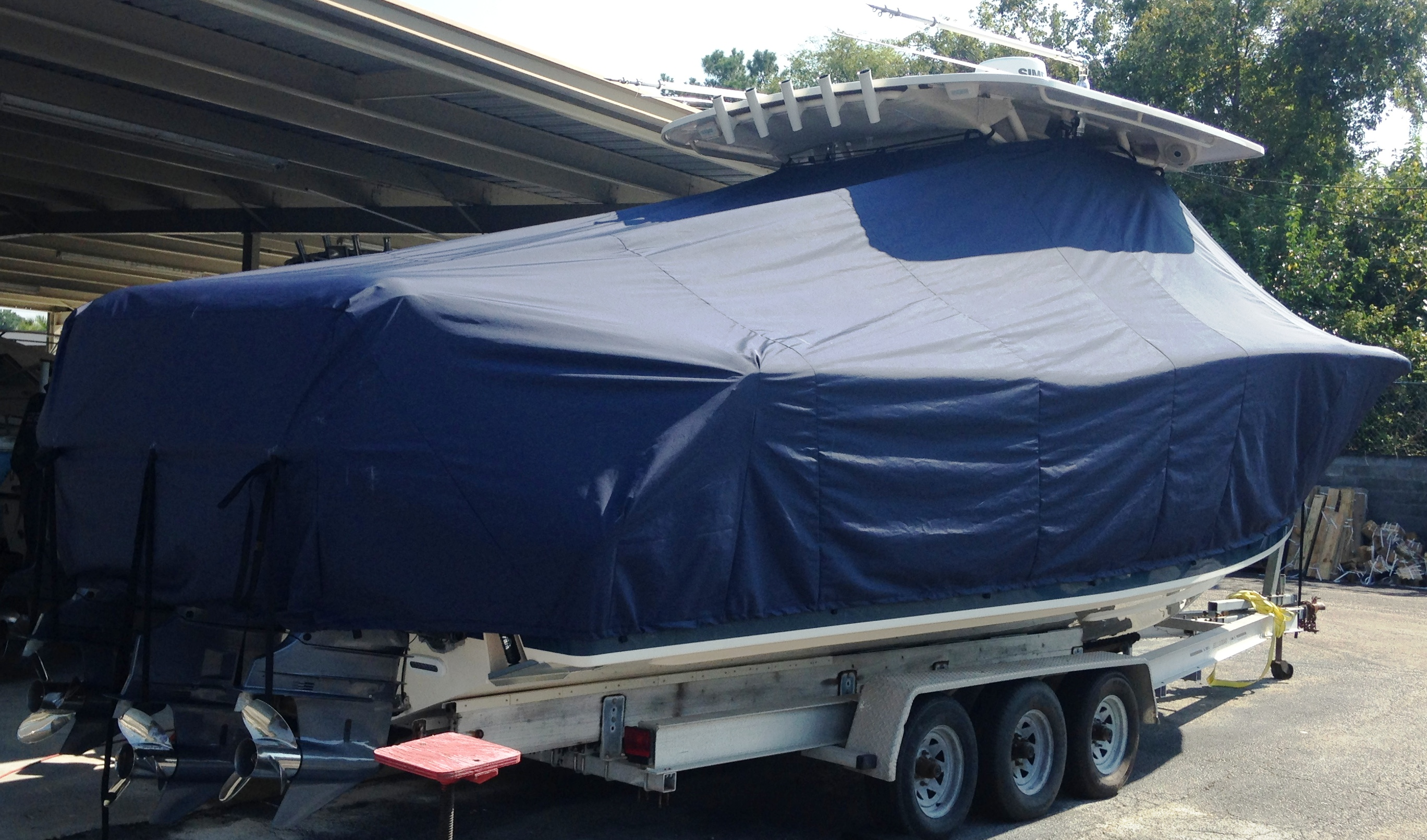 Grady White Canyon 366, 20xx, TTopCovers™ T-Top boat cover on Trailer, starboard rear