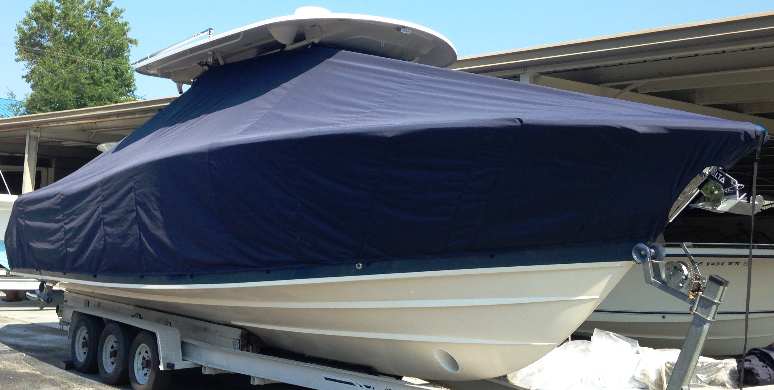 Grady White Canyon 366, 20xx, TTopCovers™ T-Top boat cover, port front