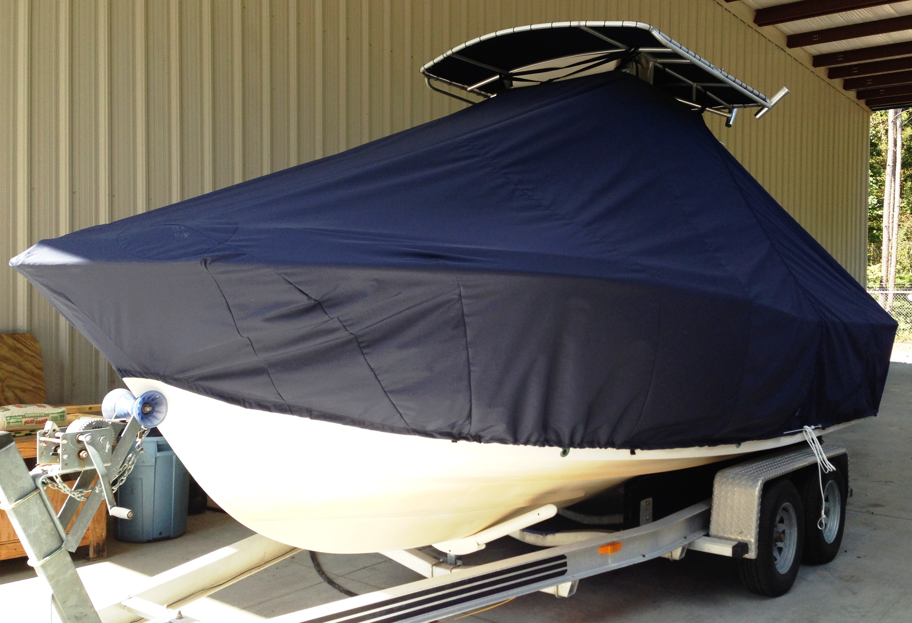 Grady White Escape 209, 20xx, TTopCovers™ T-Top boat cover, port front