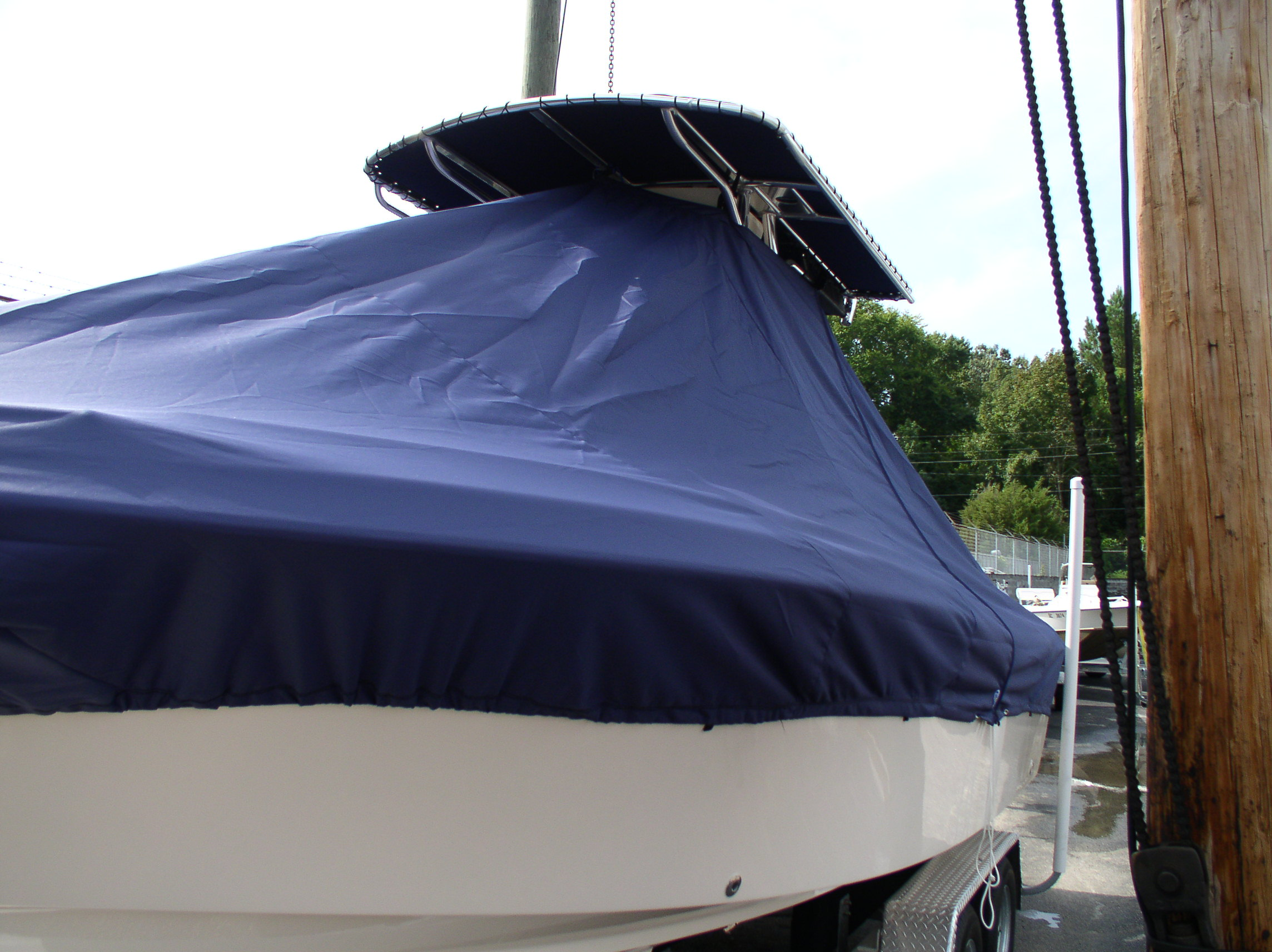 Grady White Fisherman 222, 20xx, TTopCovers™ T-Top boat cover PORT FRONT