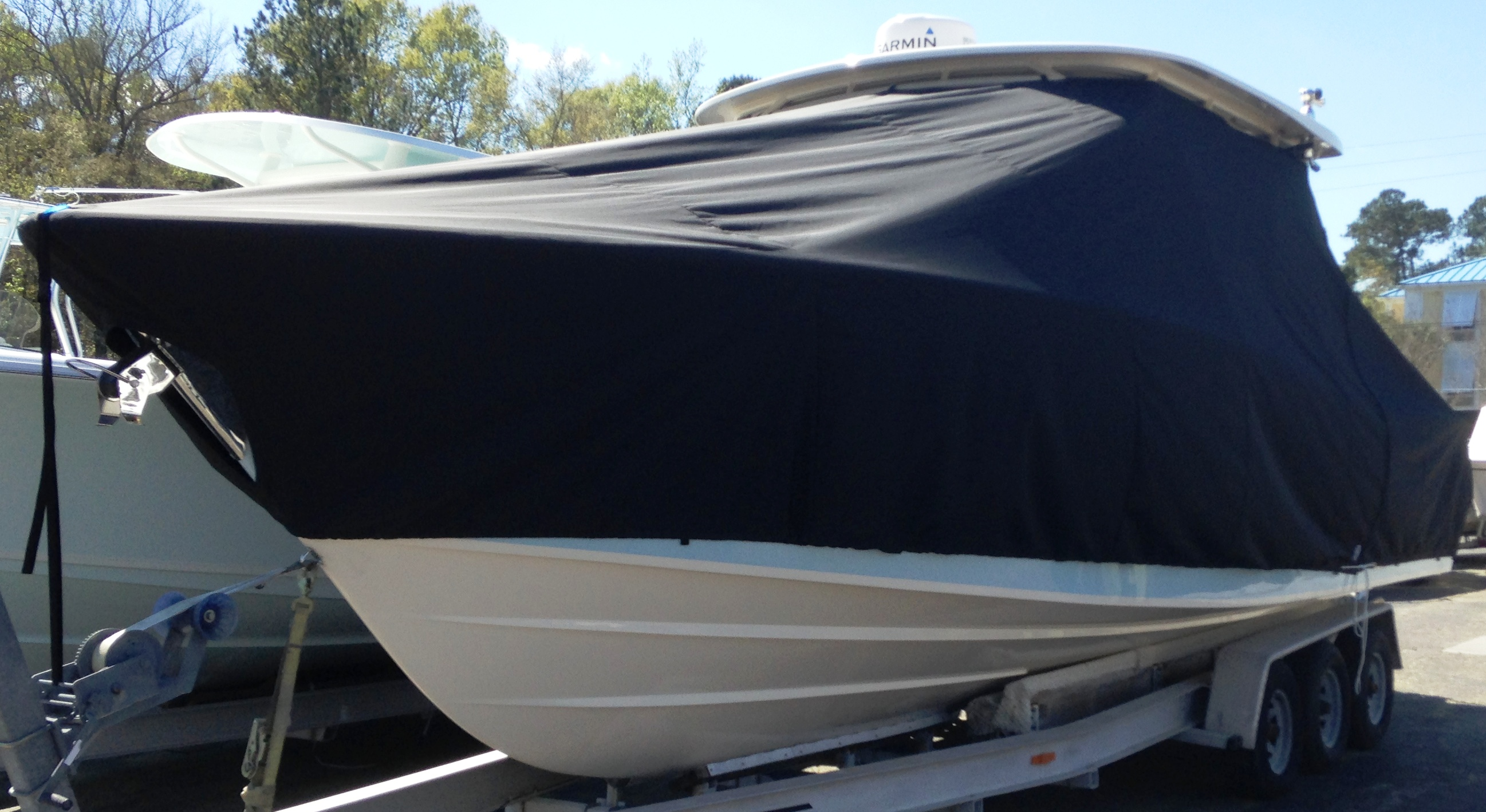 Grady White Freedom 307, 20xx, TTopCovers™ T-Top boat cover, port front