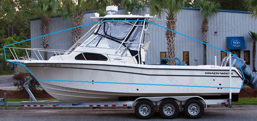 TTopCovers™ T-Top Boat-Cover, Elite™ 9oz fabric for Grady White