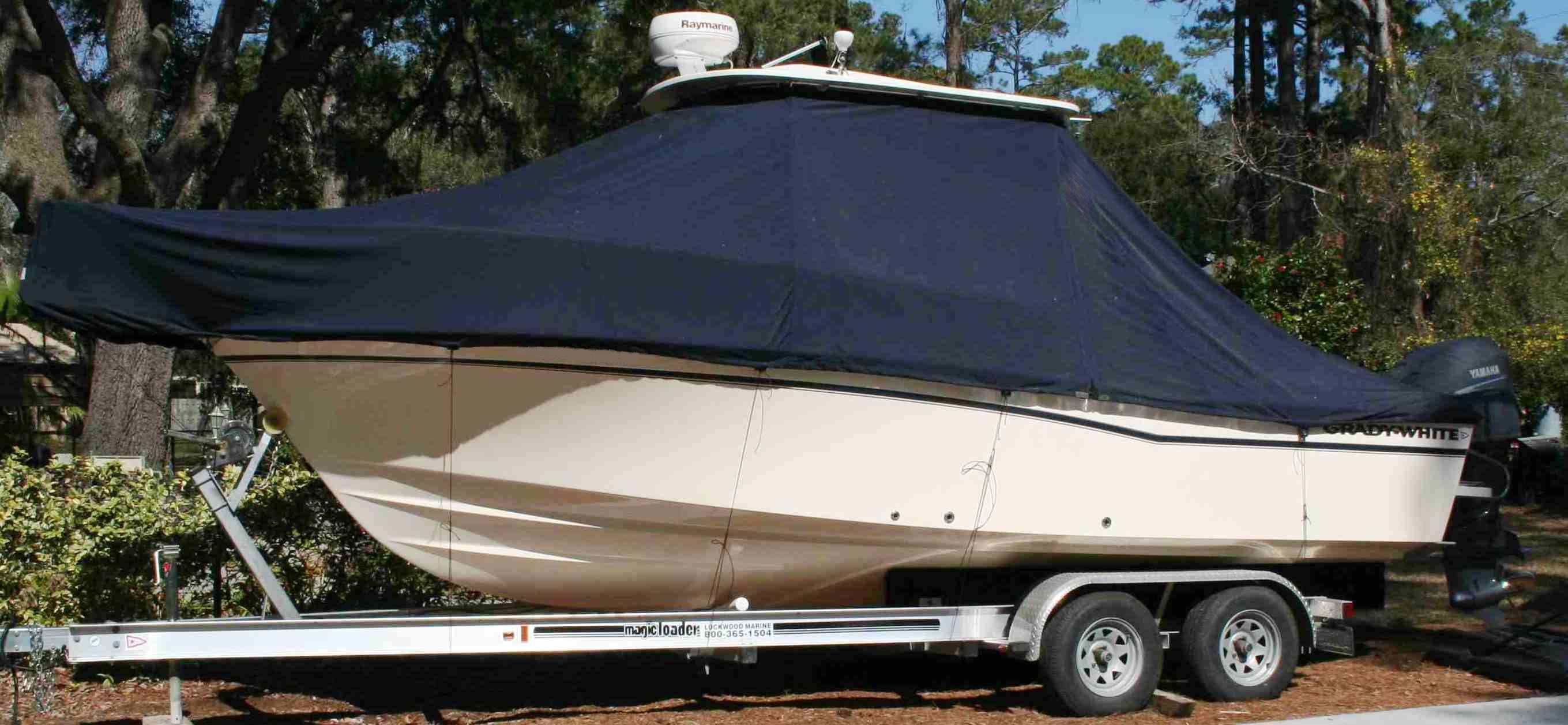 Grady White Seafarer 228 Hardtop, 20xx Hard Top, TTopCovers™ T-Top boat cover, port front