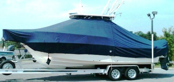 Grady White Seafarer 228 Hardtop, 20xx, TTopCovers™ T-Top boat cover Sand Bags side