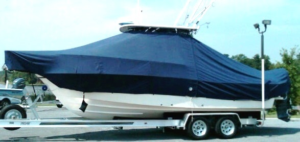 Grady White Seafarer 228, 19xx, TTopCovers™ T-Top boat cover Sand Bags side