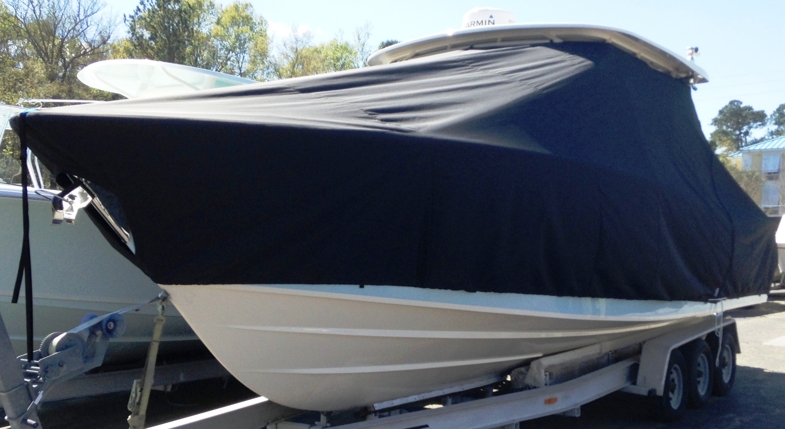 Grady White Tournament 307, 20xx, TTopCovers™ T-Top boat cover, port front