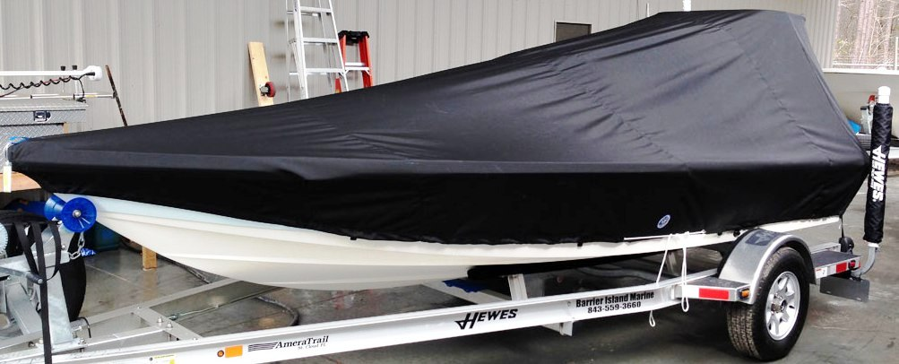 Hewes 16-Redfisher 20xx Factory-Poling-Platform Boat-Cover-LCC, port-front