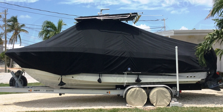 HydraSports 2500VX early model, 2005, TTopCovers™ T-Top boat cover, port side