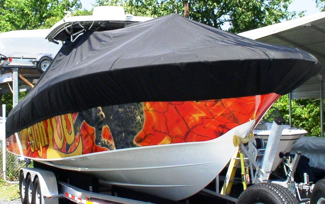 Hydrasports 3400CC, 20xx, TTopCovers™ T-Top boat cover, starboard front