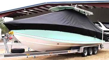 Jupiter 31CC, 20xx, TTopCovers™ T-Top boat cover, port front
