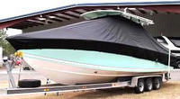 Jupiter® 31CC T-Top-Boat-Cover-Wmax-2449™ TTopCover(tm) T-Top or Hard-Top Boat-Cover (Weathermax -80(tm) 8oz./sq.yd. fabric) connects to underside of T-Top or Hard-Top frame to cover entire boat, bow, helm, cockpit and motor(s). Custom patterned (not a generic fit cover) for tight fit