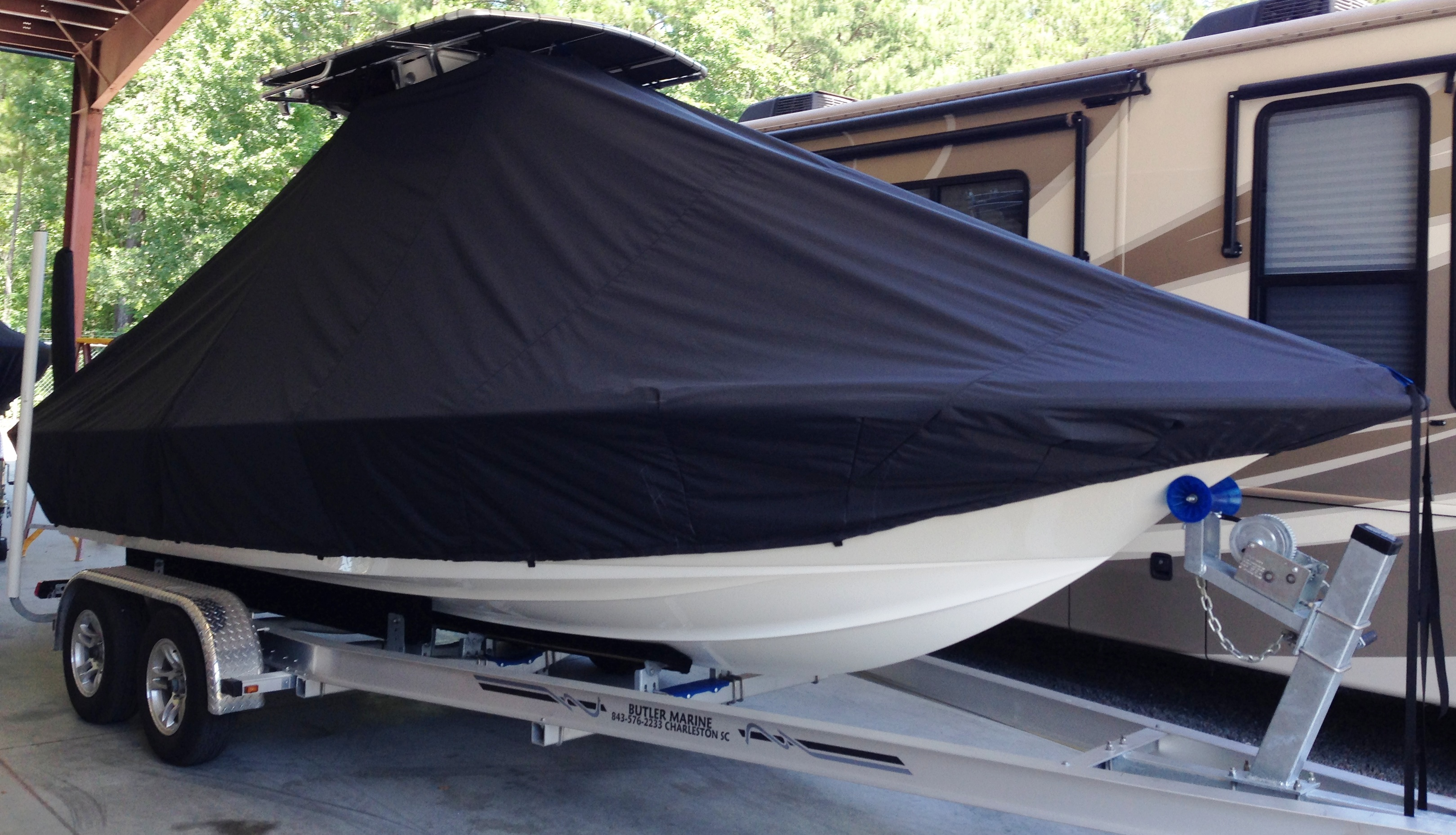 Key West, 203FS, 20xx, TTopCovers™ T-Top boat cover, starboard front