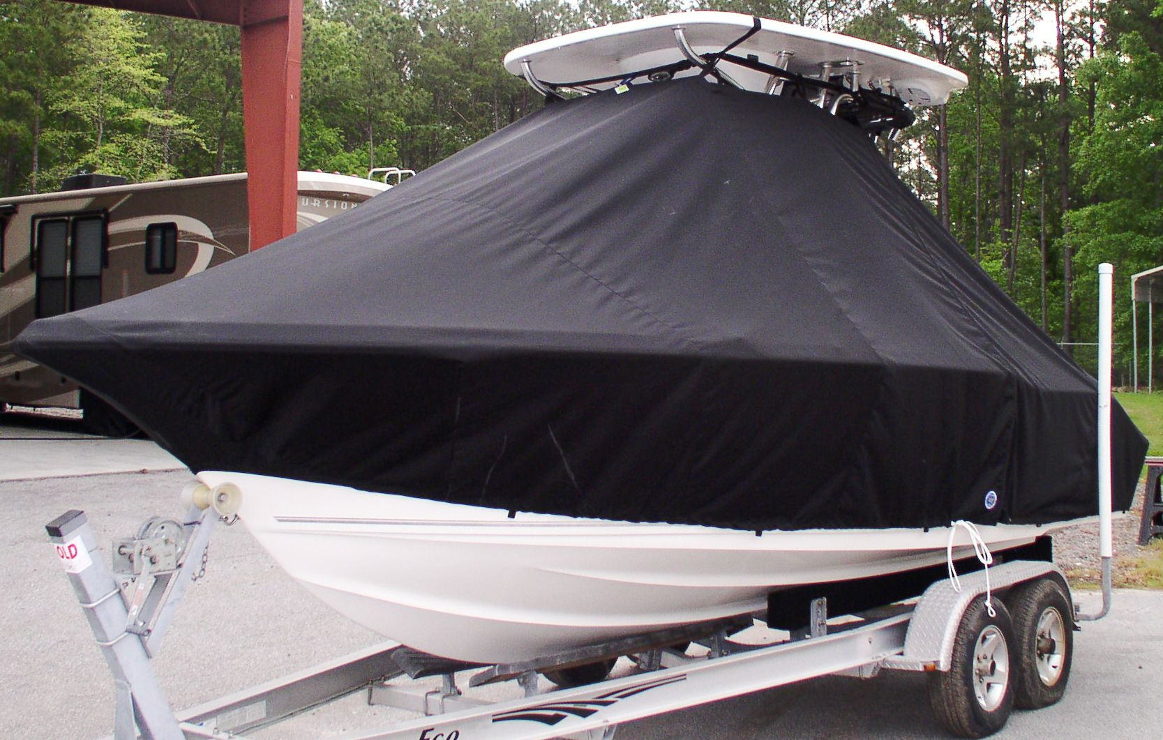 Key West 219FS, 20xx, TTopCovers™ T-Top boat cover, port bow