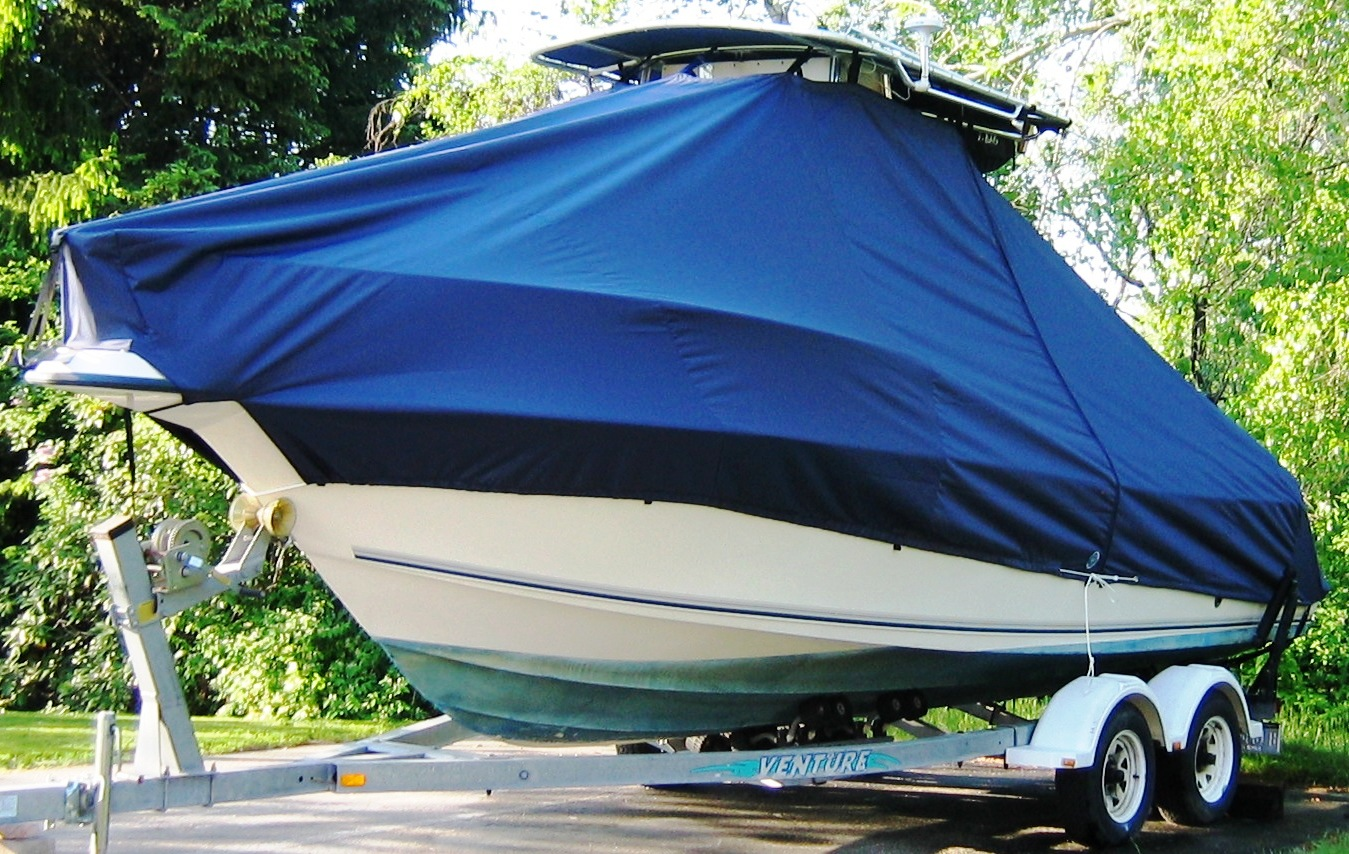 Key West 2300CC SS, 19xx, TTopCovers™ T-Top boat cover, port bow