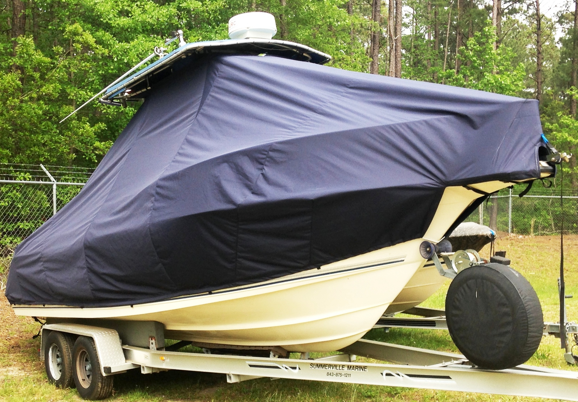 Key West 2300CC SS, 19xx, TTopCovers™ T-Top boat cover, starboard front