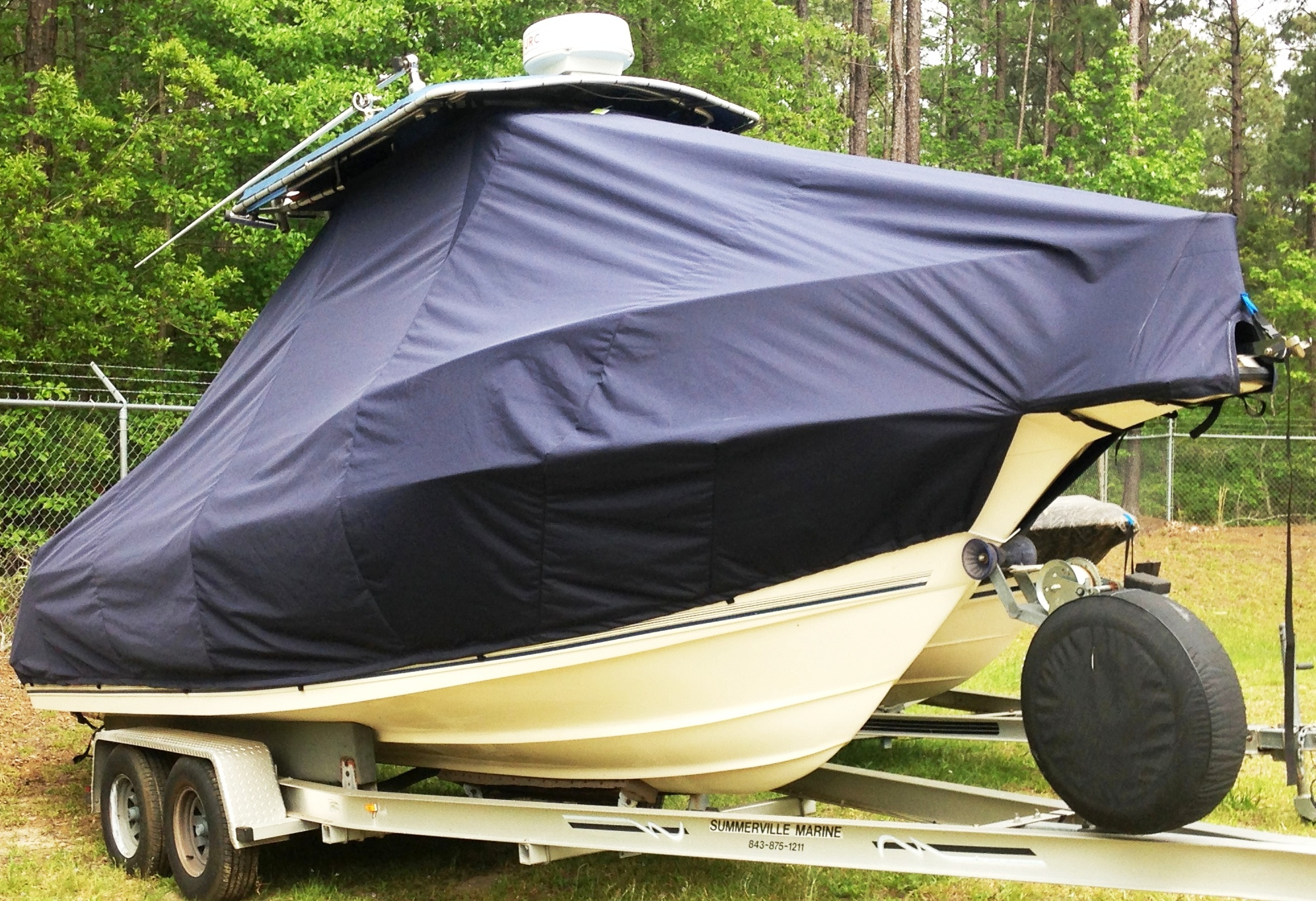 Key West 2300CC, 19xx, TTopCovers™ T-Top boat cover, starboard front