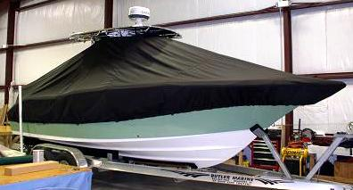 Key West 244CC, 20xx, TTopCovers™ T-Top boat cover, starboard front