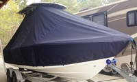Photo of Mako 204CC 20xx T-Top Boat-Cover, viewed from Starboard Front