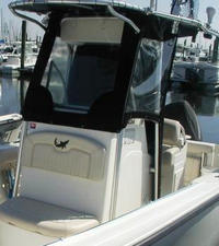 Photo of Mako 234CC, 2007: Factory T-Top, Front Spray Visor T-Top, Side Curtains, viewed from Port Front