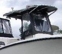 Photo of Mako 234CC, 2008: Factory T-Top, Front Spray Visor T-Top, Side Curtains, viewed from Starboard Front