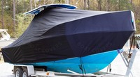 Photo of Mako 252CC 20xx T-Top Boat-Cover, viewed from Starboard Front