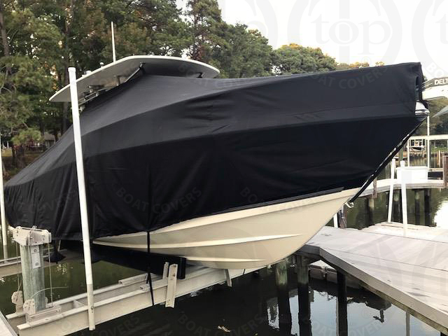 Mako 284CC HIGH Bow Rails, 20xx, TTopCovers™ T-Top boat cover On Lift, starboard front