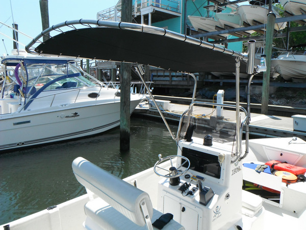 Shadow™ folding T-Top on 2010 MayCraft® 1800 Skiff, Rear Quarter View