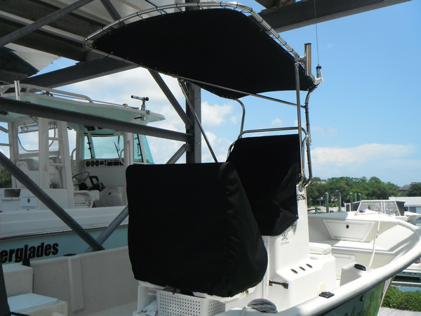 Shadow™ folding T-Top with Stabilizer on 2010 MayCraft® 1800 Skiff, Rear Quarter View