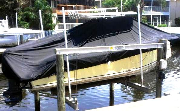 McKee Craft Freedom 24, 20xx, TTopCovers™ T-Top boat cover on lift