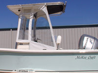 McKee Craft® Marathon 196CC Factory OEM T-Top, White Sunbrella® Spray-SHield, Gull-Wings & Gear-Net