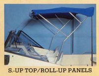1988 McKee Craft® with Stand-Up Deluxe Bimini Top with Spray-Shield Rolled Up